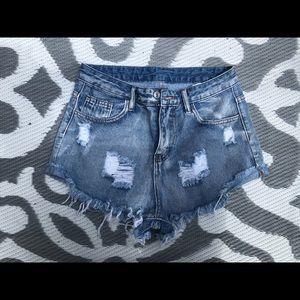 Shein High Waisted Distressed Denim Shorts